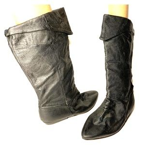 Sz9 Blk Leather Cuffed Pirate style Boots